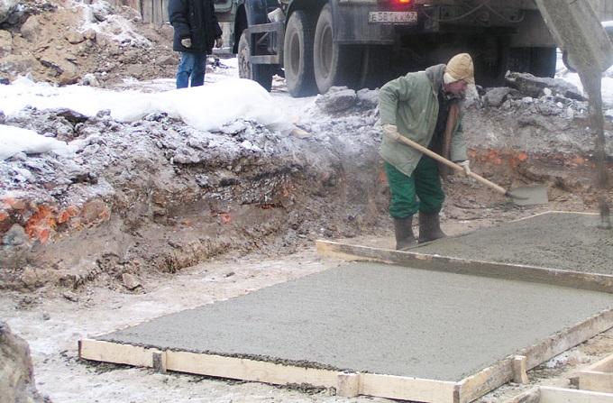 заливка бетона осенью